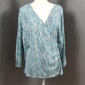 Talbot's 3X Wrap Cross Front Shirt Stretch Paisley